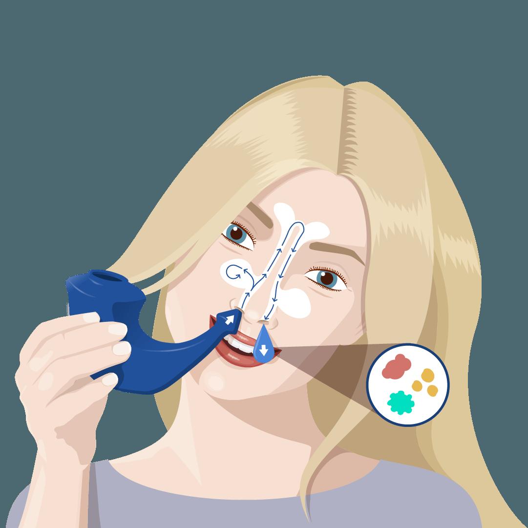 Neus spoelen zoutoplossing